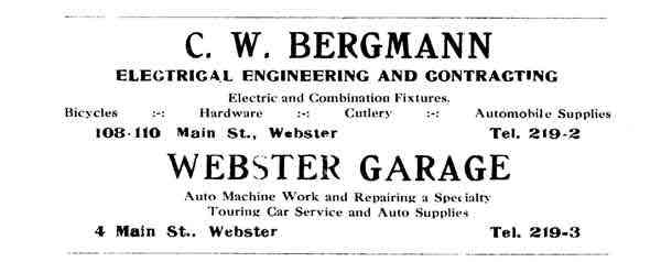 Webster, Worcester, Massachusetts, USA - 1912 Ad. George Feige worked as an electrician for his nephew, Charles W. Bergmann.