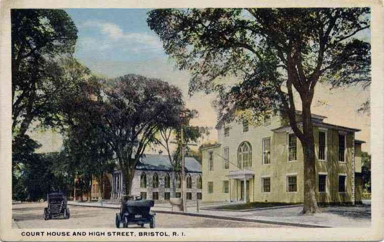Bristol, Bristol, Rhode Island, USA - Court House and High Street, Bristol, R. I.