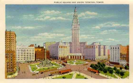 Cleveland, Ohio, USA - Public Square and Union Terminal Tower, Cleveland, Ohio