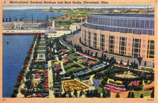 Cleveland, Ohio, USA - Horticultural Gardens Stadium and Boat Docks, Cleveland, Ohio.