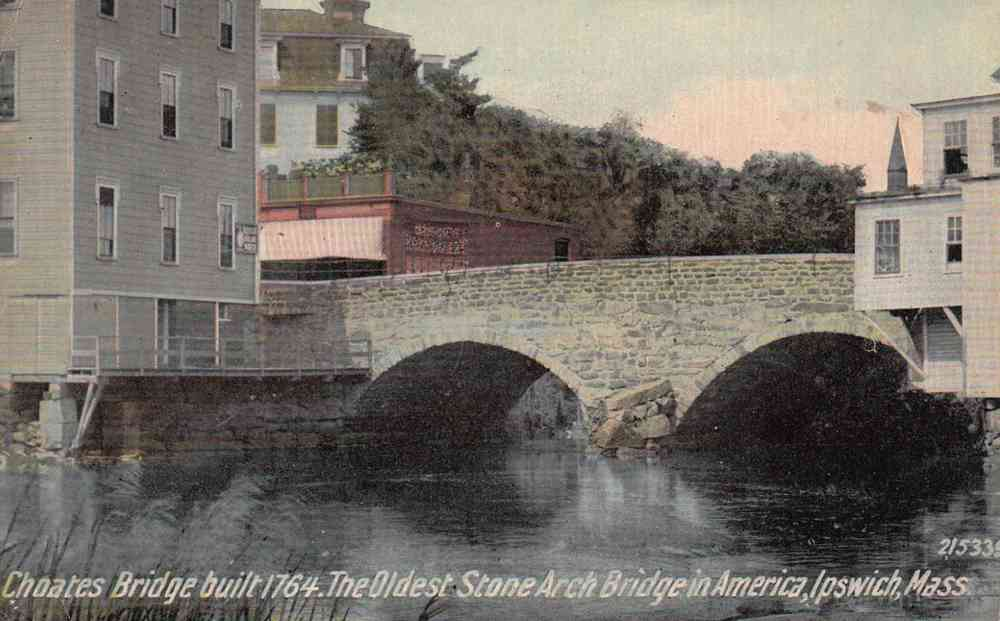 Ipswich, Massachusetts, USA - Choates Bridge built 1764. The Oldest Stone Arch Bridge in America, Ipswich, Mass.