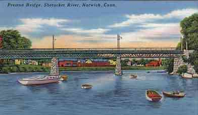 Norwich, Connecticut, USA - Preston Bridge, Shetucket River, Norwich, Conn.
