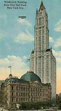 New York, New York, USA - Woolworth Building from City Hall Park, New York City