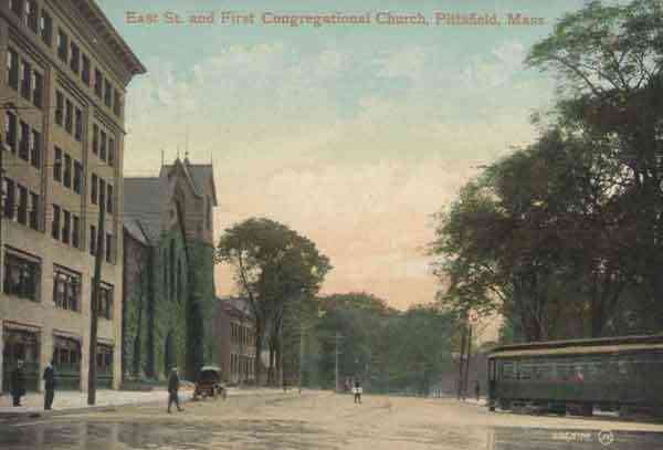 Pittsfield, Massachusetts, USA (Coltsville) - East Street and First Congregational Church, Pittsfield, Mass.