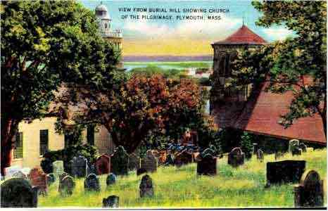 Plymouth, Massachusetts, USA (North Plymouth) (White Island Shores) - View from Burial Hill showing Church of the Pilgrimage, Plymouth, Mass.