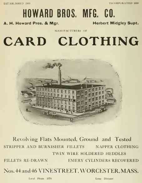 Worcester, Massachusetts, USA (Greendale) (Quinsigamond Village) (Tatnuck) (Vernon Hill) - Howard Bros. Mfg. Co.